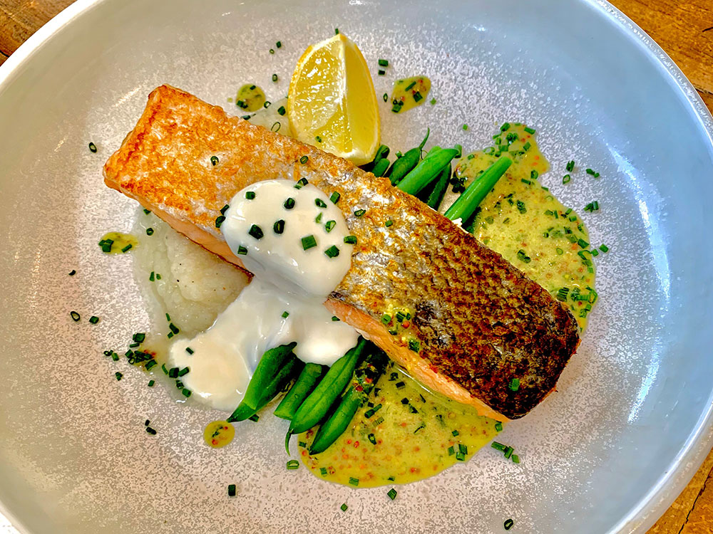 Salmon with Chive Vinaigrette